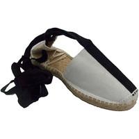 Schuhe Leinen-Pantoletten mit gefloch Made In Spain 1940 Hanf-Sandalen mit Schäfer Art Bänder ode Weiss