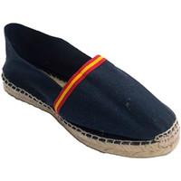 Schuhe Leinen-Pantoletten mit gefloch Made In Spain 1940 Hanf-Sandalen mit Flagge von Spanien Mad Blau