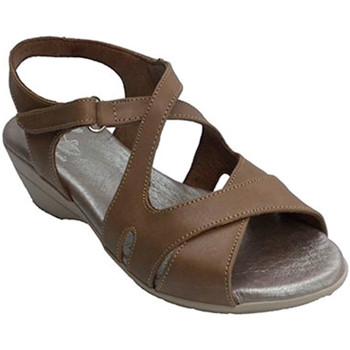 Schuhe Damen Sandalen / Sandaletten Made In Spain 1940 Frau mit gekreuzten Trägern Sandale Clay Braun