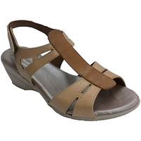 Schuhe Damen Sandalen / Sandaletten Made In Spain 1940 Frau Sandale mit Mittelstreifen in einem Braun