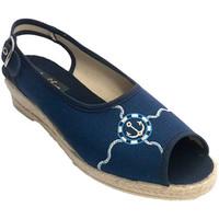 Schuhe Damen Sandalen / Sandaletten Made In Spain 1940 Offene Pantoffel Frau mit Streifen hinte Blau