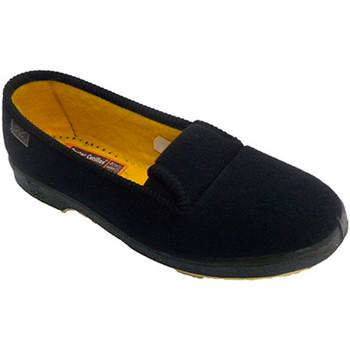Schuhe Damen Hausschuhe Doctor Cutillas Slipper Frau ältere Person mit Gummi an Schwarz