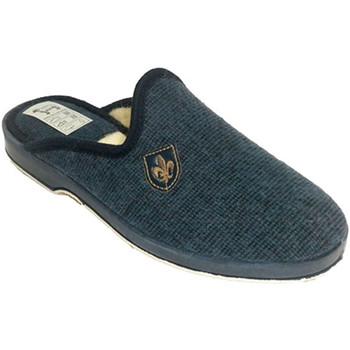 Schuhe Herren Hausschuhe Made In Spain 1940 Thongs Mann zu Hause Wolle Fleece-Futter Blau