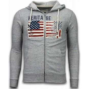 Kleidung Herren Strickjacken Enos Sweatjacke Embroidery American Heritage Grau