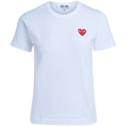 Kleidung Damen T-Shirts Comme Des Garcons T-shirt Weiß mit rotem Herz Weiss