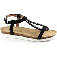 Schuhe Damen Sandalen / Sandaletten Grunland GRÜNLAND Jegu SB0685 schwarze Frau Schnalle Sandale Strass Nero