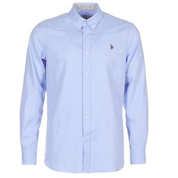 Kleidung Herren Langärmelige Hemden U.S Polo Assn. CALE Blau