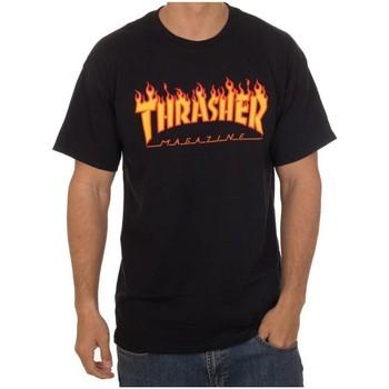 Kleidung Herren T-Shirts Thrasher CAMISETA  FLAME LOGO NEGRA HOMBR Schwarz