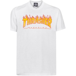 Kleidung Herren T-Shirts Thrasher CAMISETA  FLAME LOGO BLANCO HOMB Weiß