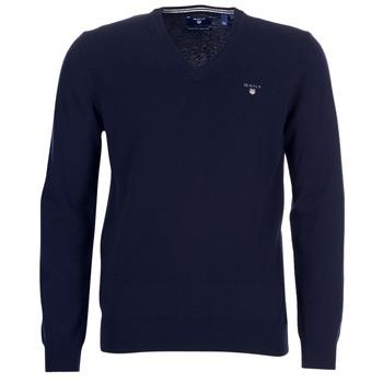 Kleidung Herren Pullover Gant SUPER FINE LAMBSWOOL V-NECK Marine