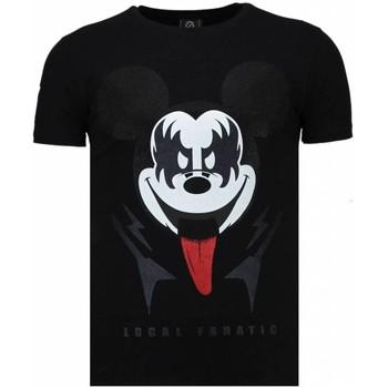 Kleidung Herren T-Shirts Local Fanatic Kiss My Mickey Strass Schwarz