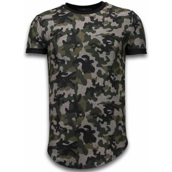 Kleidung Herren T-Shirts Justing Camouflaged Fashionable Long Army Pattern Grün