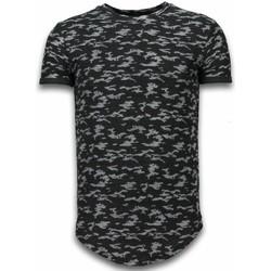 Kleidung Herren T-Shirts Justing Fashionable Camouflage Long Army Pattern Schwarz