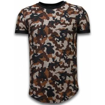 Kleidung Herren T-Shirts Justing Camouflaged Fashionable Long Army Pattern Braun