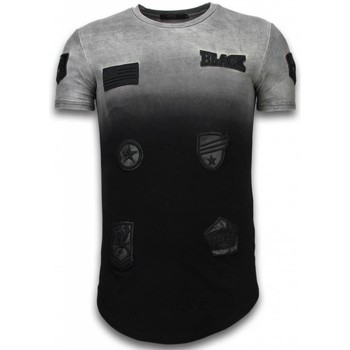 Kleidung Herren T-Shirts Justing Leather Patched Long Flare Effect Dual Ed Schwarz, Grau