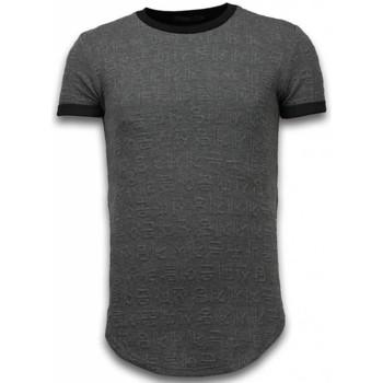 Kleidung Herren T-Shirts Justing D Encrypted Long Zipped Grau