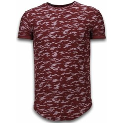 Kleidung Herren T-Shirts Justing Fashionable Camouflage Long Army Pattern Bordeaux