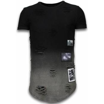 Kleidung Herren T-Shirts Justing Pictured Flare Effect Long Dual Ed Schwarz
