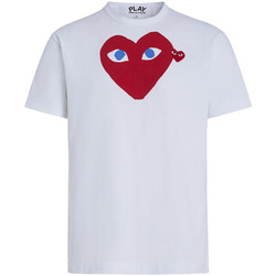 Kleidung Herren T-Shirts & Poloshirts Comme Des Garcons T-Shirt Play by Comme de Garcon in Weiss mit rotem Herz Weiss