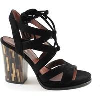 Schuhe Damen Sandalen / Sandaletten Sapena 33348 schwarzen Schnürsenkeln hochhackige Sandalen Wildleder Fr Nero