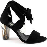 Schuhe Damen Sandalen / Sandaletten Sapena 33379 schwarze Schuhe schnürt Sandelholzferse suede Frauen Nero