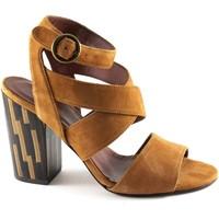 Schuhe Damen Sandalen / Sandaletten Sapena 33383 Kansas Ledersandalen Frauen hochhackigen Wildleder Schnal Marrone