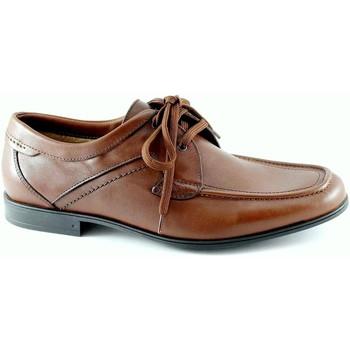 Schuhe Herren Derby-Schuhe Lion 20684 Tobacco Mann brauner Seide Schnürsenkel Lederschuhe Versi Marrone