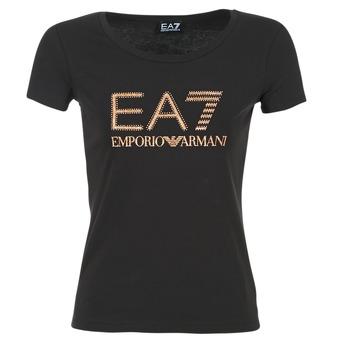 Kleidung Damen T-Shirts Emporio Armani EA7 TRAIN LOGO SERIES GLITTER Schwarz / Goldfarben / Rose