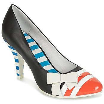 Schuhe Damen Pumps Lola Ramona STILETTO Schwarz / Orange / Weiss