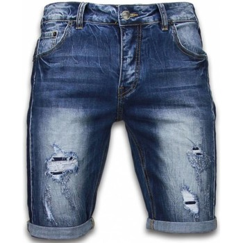 Kleidung Herren Shorts / Bermudas Enos Kurze Hosen Slim Vintage Torn Look Shorts Blau