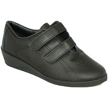 Schuhe Damen Multisportschuhe Made In Spain 1940 Sports Frau mit Klettverschluss Keil Fer Schwarz