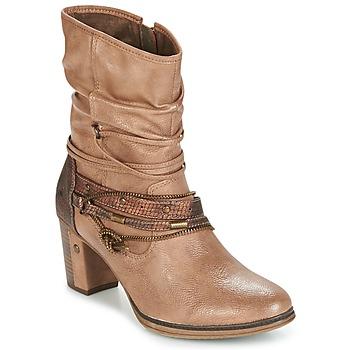 Schuhe Damen Low Boots Mustang BUNDEN Beige