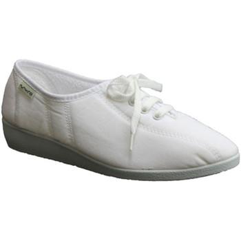 Schuhe Damen Hausschuhe Muro  Keilschuh Schnürsenkel  weiß Weiss