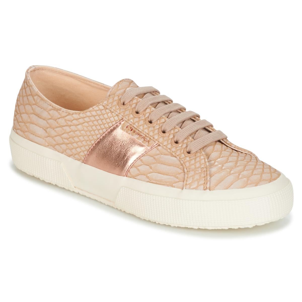 Superga 2750 PU SNAKE W Beige - Kostenloser Versand bei Spartoode ! - Schuhe Sneaker Low Damen 52,49 €