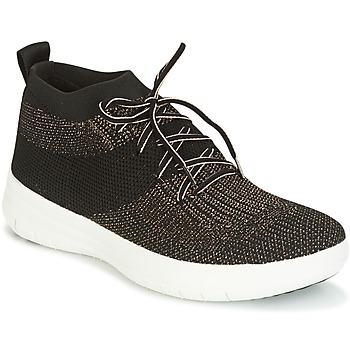 Schuhe Damen Sneaker High FitFlop UBERKNIT SLIP-ON HIGH TOP SNEAKER Schwarz / Bronze