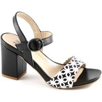 Schuhe Damen Sandalen / Sandaletten Grunland GRÜNLAND QUAD SA1611 weiß schwarz Frau Ledersandalen Gurtbandes Nero