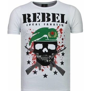 Kleidung Herren T-Shirts Local Fanatic Skull Rebel Strass Weiß
