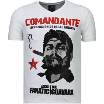 Kleidung Herren T-Shirts Local Fanatic Che Guevara Comandante Strass Weiß