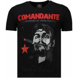 Kleidung Herren T-Shirts Local Fanatic Che Guevara Comandante Strass Schwarz