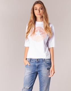 Kleidung Damen T-Shirts Converse SATIN CP MOCK NECK TEE Weiss