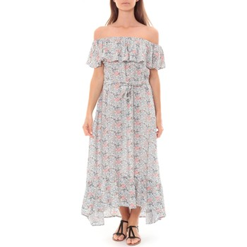 Kleidung Damen Maxikleider By La Vitrine Robe Longue Care  of you Fleuri Bleu F50035 Blau
