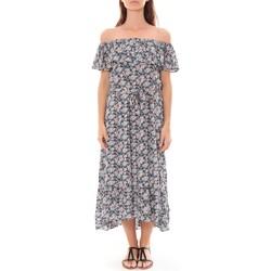 Kleidung Damen Maxikleider By La Vitrine Robe Longue Care  of you Fleuri Noir F50035 Schwarz