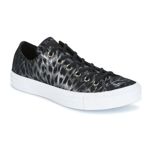 Converse CHUCK TAYLOR ALL STAR SHIMMER SUEDE OX BLACK/BLACK/WHITE Schwarz / Weiss  Schuhe Sneaker Low Damen 71,99