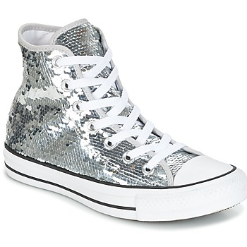 Schuhe Damen Sneaker High Converse CHUCK TAYLOR ALL STAR SEQUINS HI SILVER/WHITE/BLACK Silbern