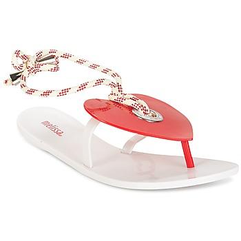 Schuhe Damen Zehensandalen Melissa BLISS II SP AD Weiss / Rot