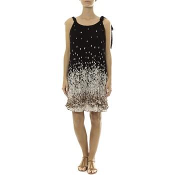 Kleidung Damen Kurze Kleider By La Vitrine Robe Noir Care of you Imprimée Fleurs F50113 Schwarz