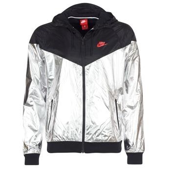Kleidung Herren Windjacken Nike WINDRUNNER METALLIC Schwarz / Silbern