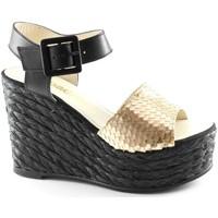 Schuhe Damen Sandalen / Sandaletten Espadrilles schwarze Gold Keil Sandalen für Frauen ins Gesicht, Lederschnal Oro
