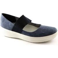 Schuhe Damen Ballerinas FitFlop MARY JANE E93399 blaue Schuhe Frauen Elastic Ballerina Blu