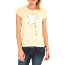 Kleidung Damen T-Shirts LuluCastagnette T-Shirt Pics Printe Ours Jaune Gelb